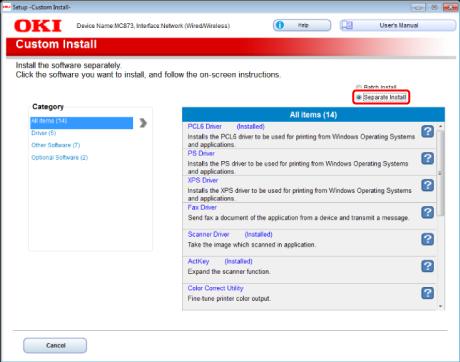 OKI   Installing Software (MC853, MC873, MC883)